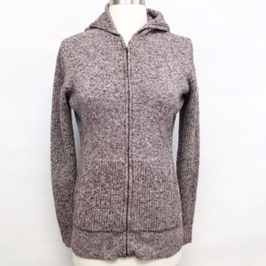 columbia | full zip up hooded marled sweater sz L
